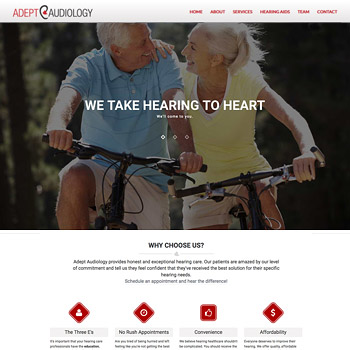 Web Site Design for Adept Audiology, Sarasota, Florida