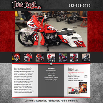 Website Design for Live Fast Customs