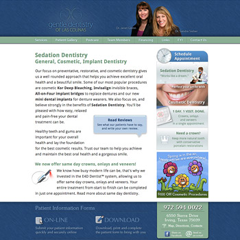 Website Design for Gentle Dentistry of Las Colinas